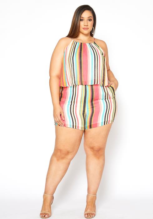Asoph Plus Size Summer Striped Romper