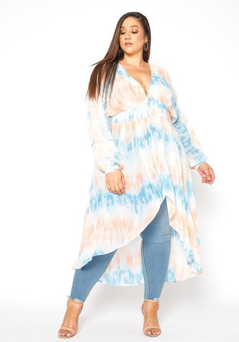 Asoph Plus Size High Low Tie Dye Long Sleeve Blouse