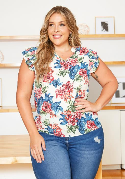Asoph Plus Size Island Floral Print Sleeveless Blouse