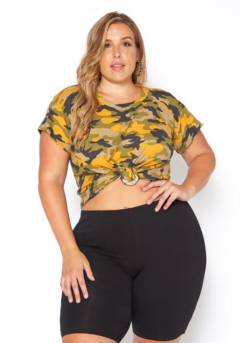 Asoph Plus Size Yellow Camo Print Casual Tee Shirt