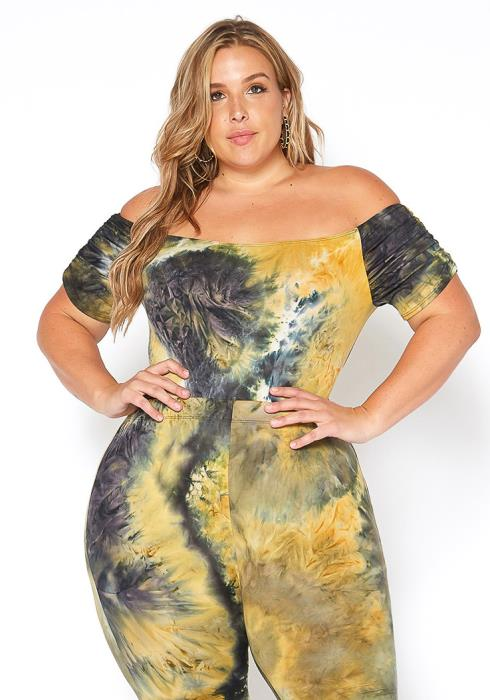Asoph Plus Size Tie Dye Off Shoulder Bodysuit