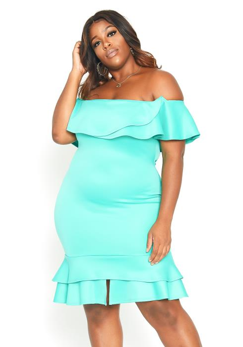 Asoph Plus Size Off Shoulder Ruffle Tier Mini Dress