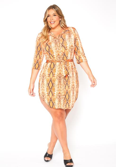 Asoph Plus Size Neon Snakeskin Print Collar Mini Dress