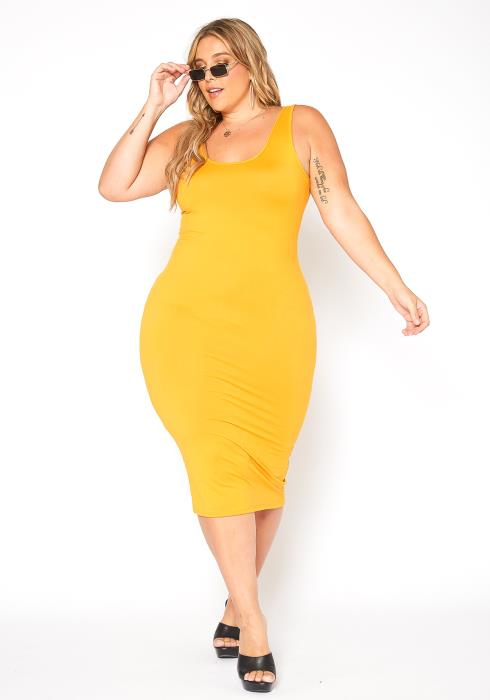 Asoph Plus Size Everyday Basic Bodycon Tank Midi Dress