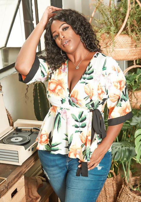 Asoph Plus Size Summer Floral Print Wrap Peplum Blouse