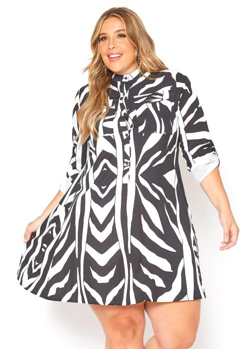 Asoph Plus Size Zebra Print Button Front Flare Mini Dress
