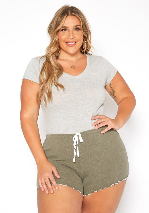 Asoph Plus Size Lettuce Trim Faux Drawstring PJ Shorts