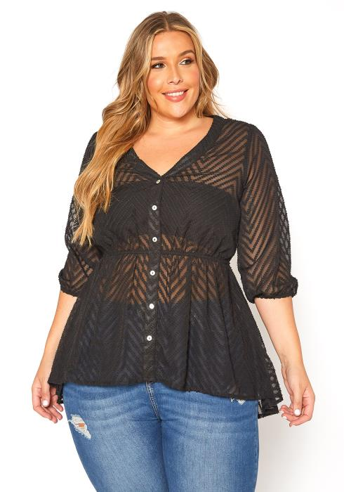 Asoph Plus Size Sheer Striped Peplum Top