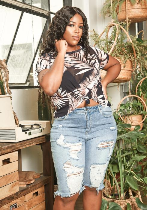 Asoph Plus Size Acid Wash Distressed Denim Bermuda Shorts