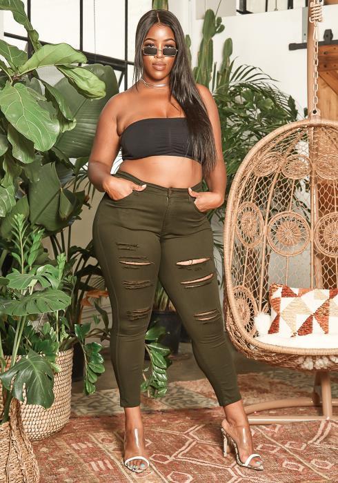 Asoph Plus Size Distressed Hem Dark Olive Skinny Jeans