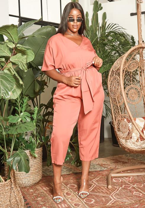 Asoph Plus Size Basic V Neck Mauve Capri Jumpsuit