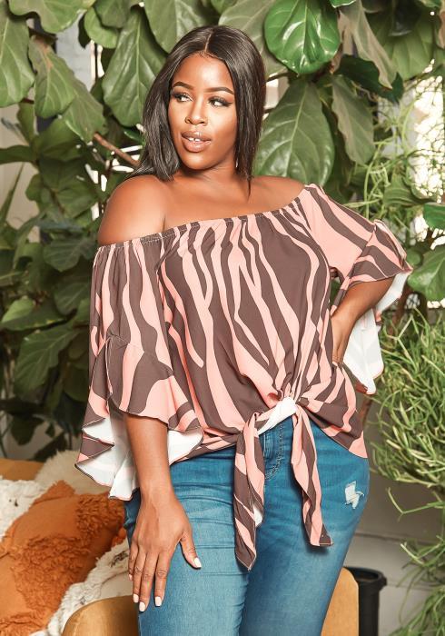 Asoph Plus Size Pink Zebra Print Off Shoulder Tie Front Blouse