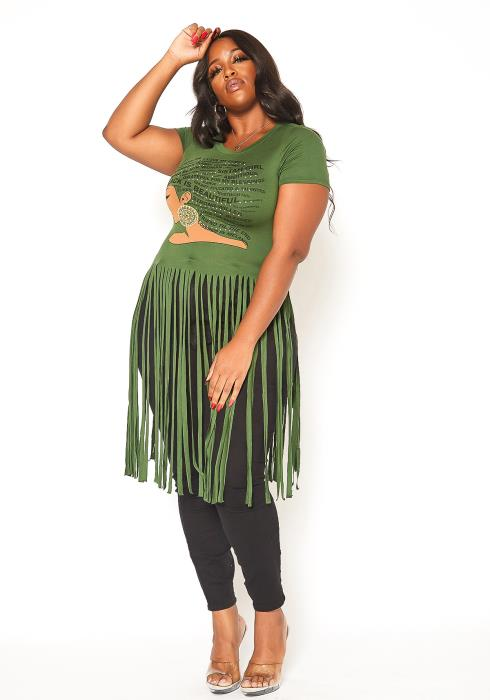 Asoph Plus Size Gratitude Graphic Longline Fringe Cut Top