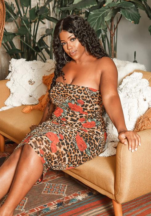 Asoph Plus Size Leopard Rose Bloom Bodycon Tube Dress