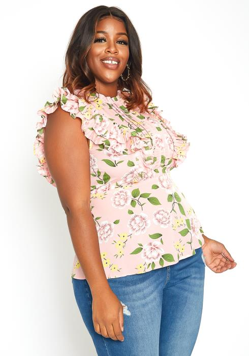 Asoph Plus Size Rose Floral Ruffle Trim Sleeveless Blouse
