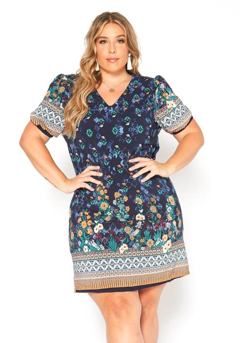 Asoph Plus Size Multi Boho Print Mini Dress