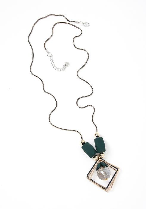 Trinity Hunter Green Detail Pendant Metallic Necklace