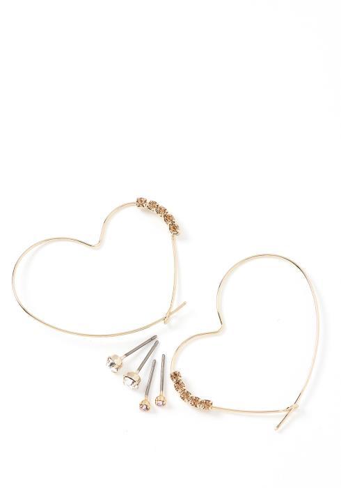 Valentine Heart Shape Hoop Earring Set