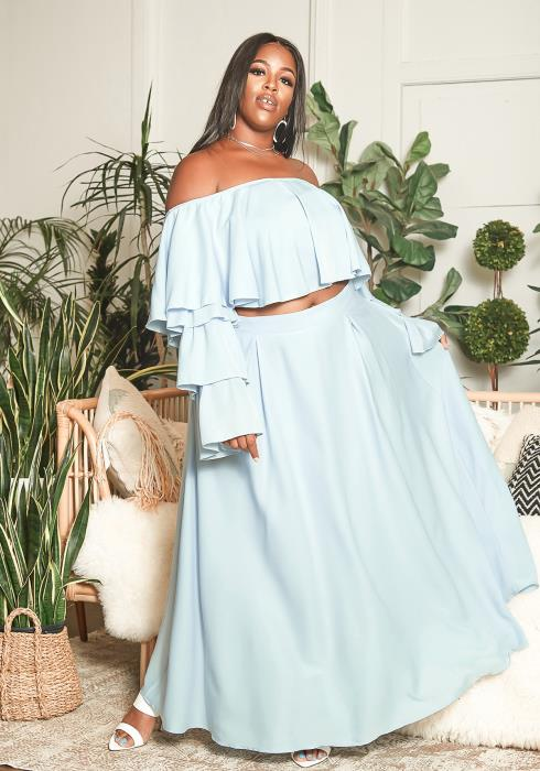 Asoph Plus Size Off Shoulder Chiffon Crop Top & Maxi Skirt Set