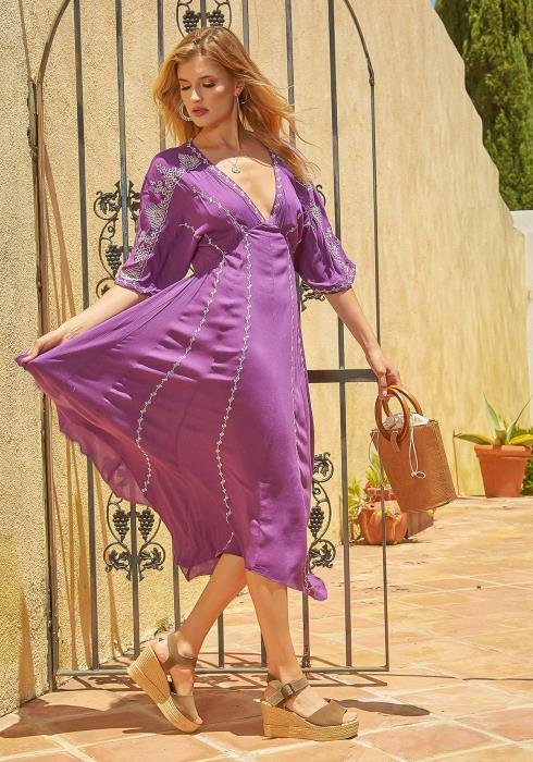 En Creme Bohemian Asymmetric Flare Maxi Dress