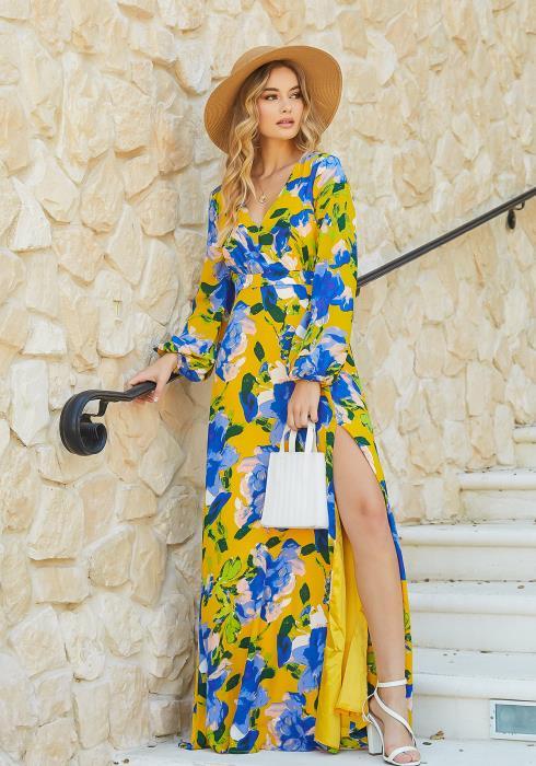 En Creme Summer Paradise Slit Hem Long Sleeve Maxi Dress