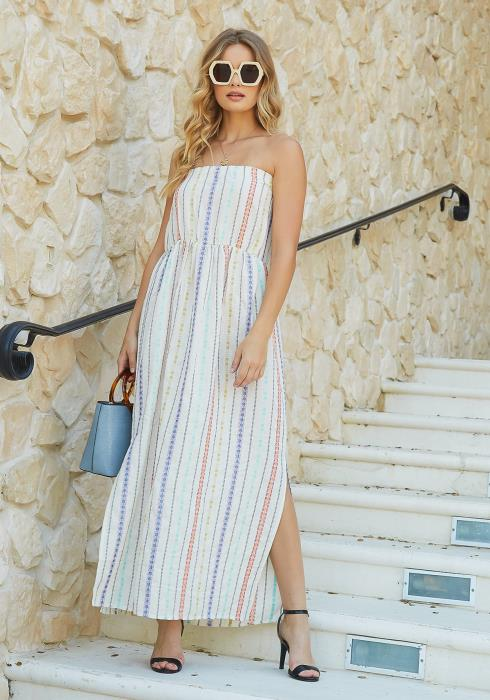 En Creme Colorful Boho Multi Stripe Tube Maxi Dress