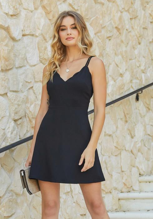 En Creme Petal Edge V Neck Fit & Flare Mini Dress