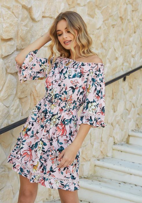 En Creme Island Floral Print Off Shoulder Mini Dress