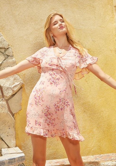 En Creme Blushing Floral Cape Sleeve Mini Dress