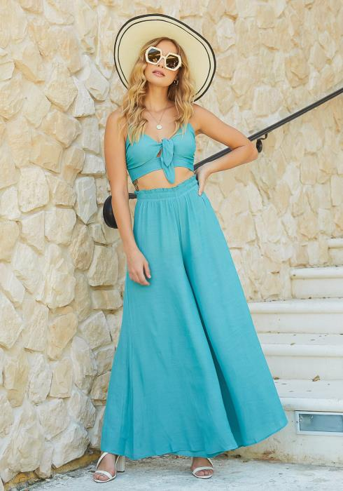 En Creme Turquoise High Rise Flowy Straight Pants