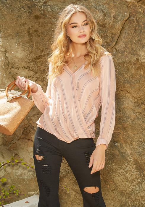 En Creme Double Striped Overlay Long Sleeve Shirt