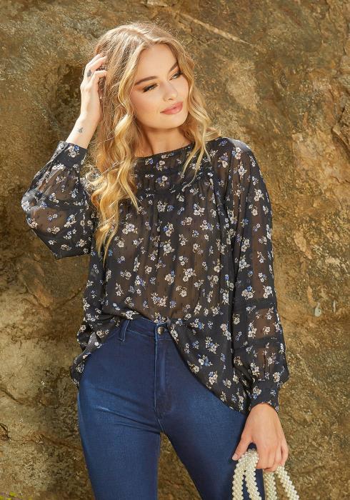 En Creme Semi Sheer Floral Print Long Sleeve Blouse