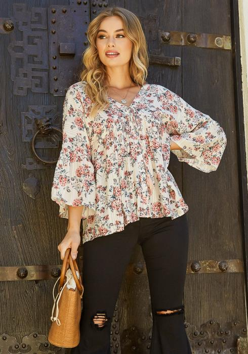 En Creme Antique Floral Print V Neck Blouse