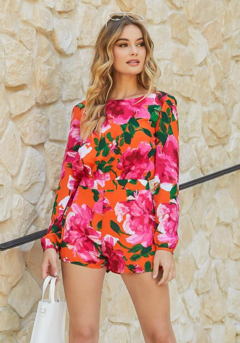 En Creme Floral Paradise Long Sleeve Open Back Romper