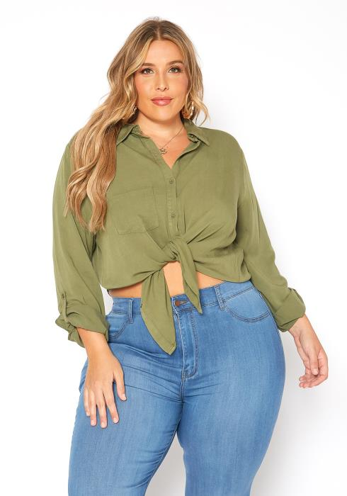 Asoph Plus Size Olive Green Collar Button Up Shirt
