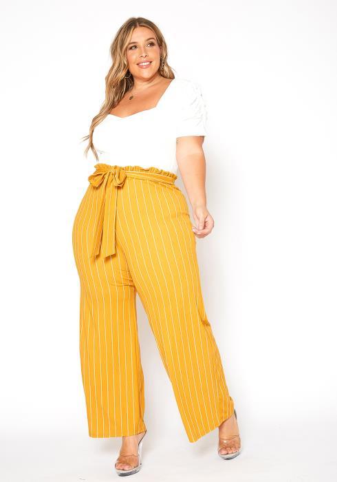 Asoph Plus Size Stripe Contrast Mustard Jumpsuit