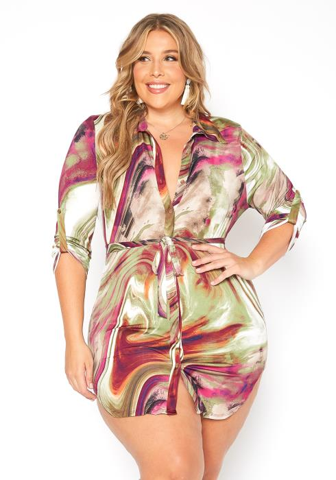 Asoph Plus Size Button Up Multi Shirt Dress