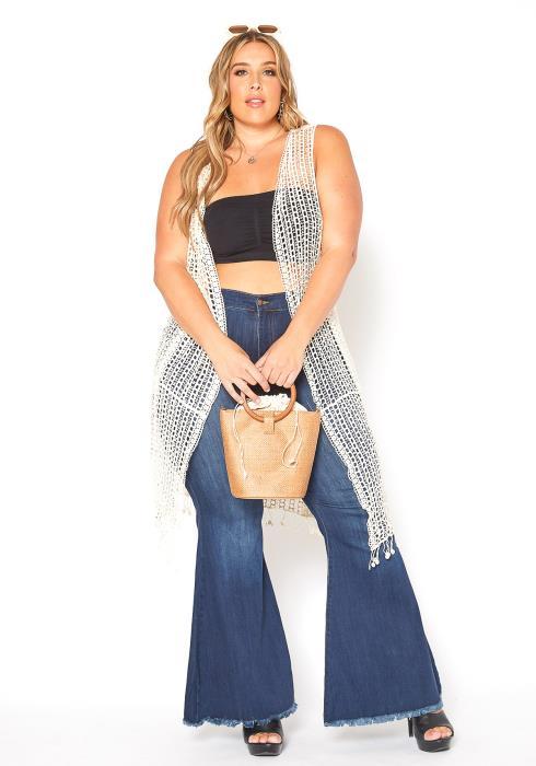 Asoph Plus Size Boho Fishnet Crochet Longline Vest