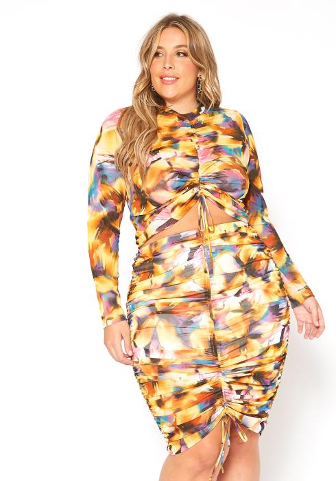 Asoph Plus Size Multi Print Ruched Drawstring Hem Two Piece Set