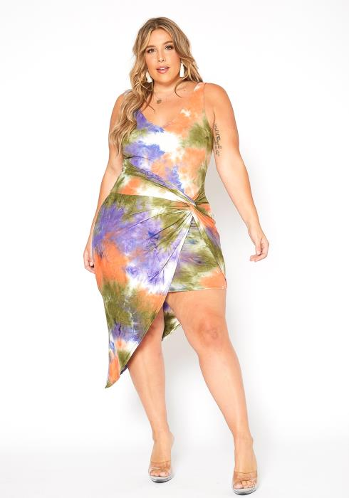 Asoph Plus Size Tie Dye Wrap Skirt Dress