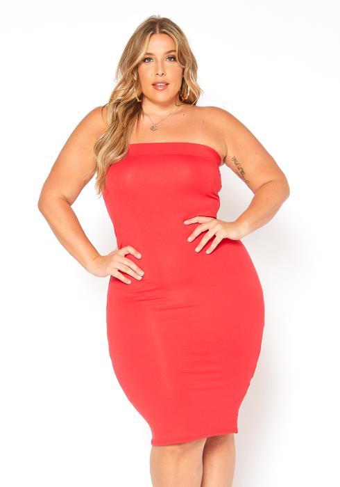 Asoph Plus Size Favorite Basic Bodycon Tube Dress