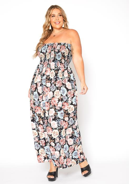Asoph Plus Size Smocked Floral Tube Top Maxi Dress