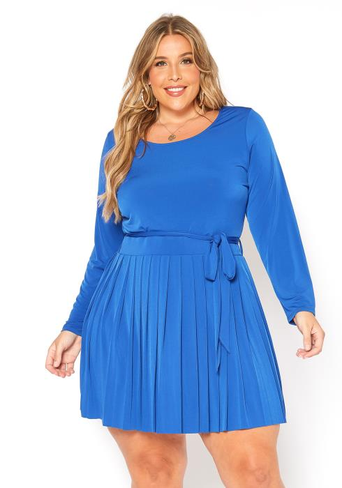 Asoph Plus Size Pleated Skirt Contrast Fit & Flare Mini Dress