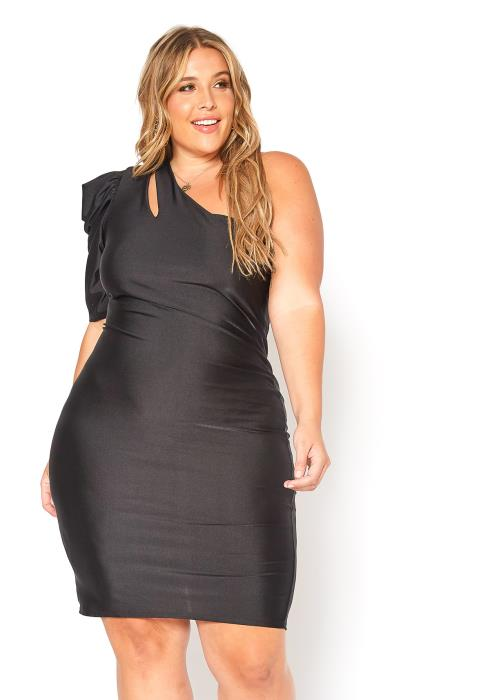 Asoph Plus Size One Shoulder Keyhole Hem Bodycon Mini Dress