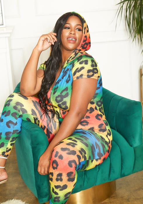 Asoph Plus Size Rainbow Leopard Print Hooded Bodycon Jumpsuit