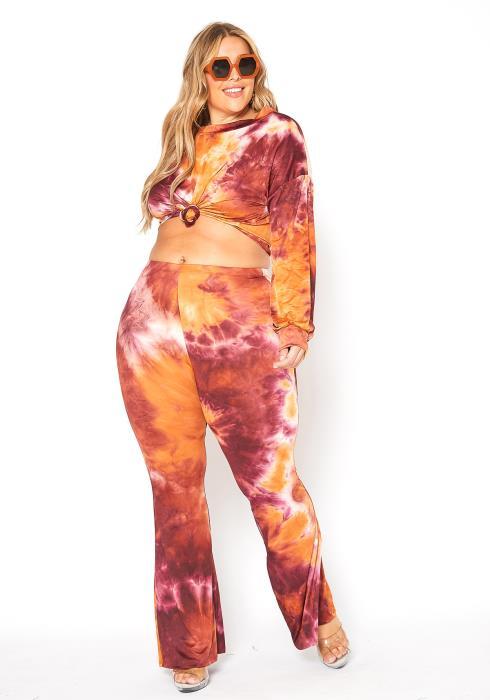 Asoph Plus Size Fire Tie Dye Crew Neck Sweater & Flare Pants Set