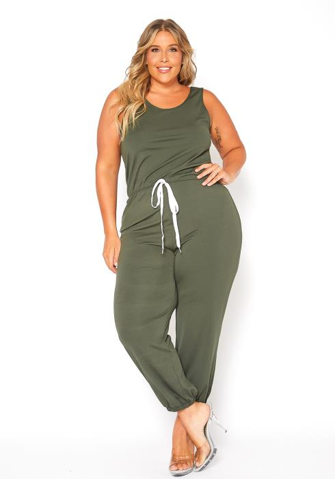 Asoph Plus Size Sleeveless Lounging Drawstring Jumpsuit