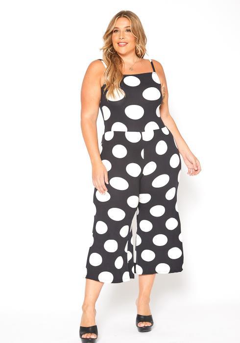 Asoph Plus Size Polka Dot Print Capri Cami Jumpsuit