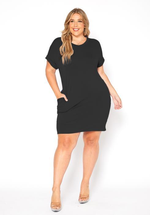 Asoph Plus Size Basic Tee Shirt V Neck Mini Dress