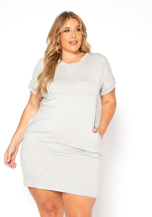 Asoph Plus Size Basic Tee Shirt V Neck Mini Dress